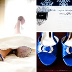 Pretty blue details were perfectly planned throughout Angela's wedding - right down to her shoes! All of Angela's bridesmaids wrote sweet notes on the bottom of her shoes so she could take the warm thoughts with her the entire night!